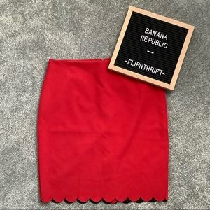 🆕LISTING 💛BANANA REPUBLIC Red Scallop Hem Skirt